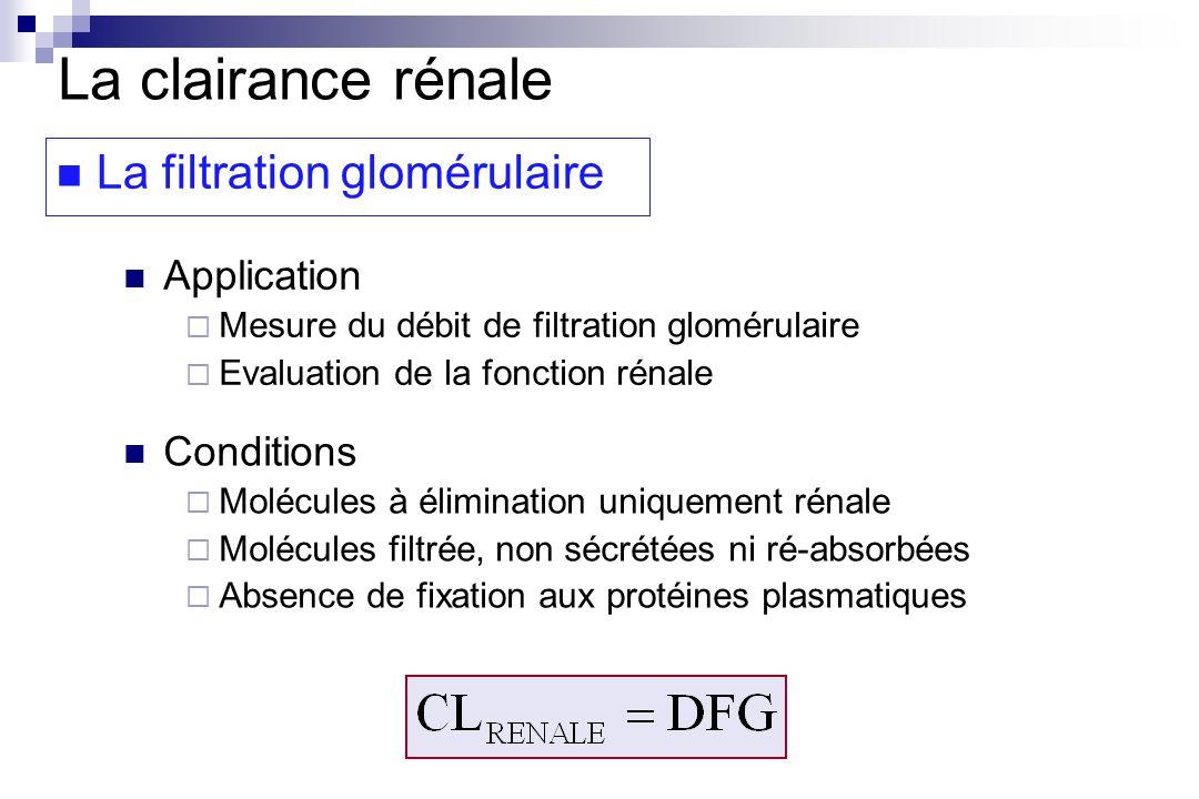 La clairance rénale La filtration glomérulaire Application Conditions
