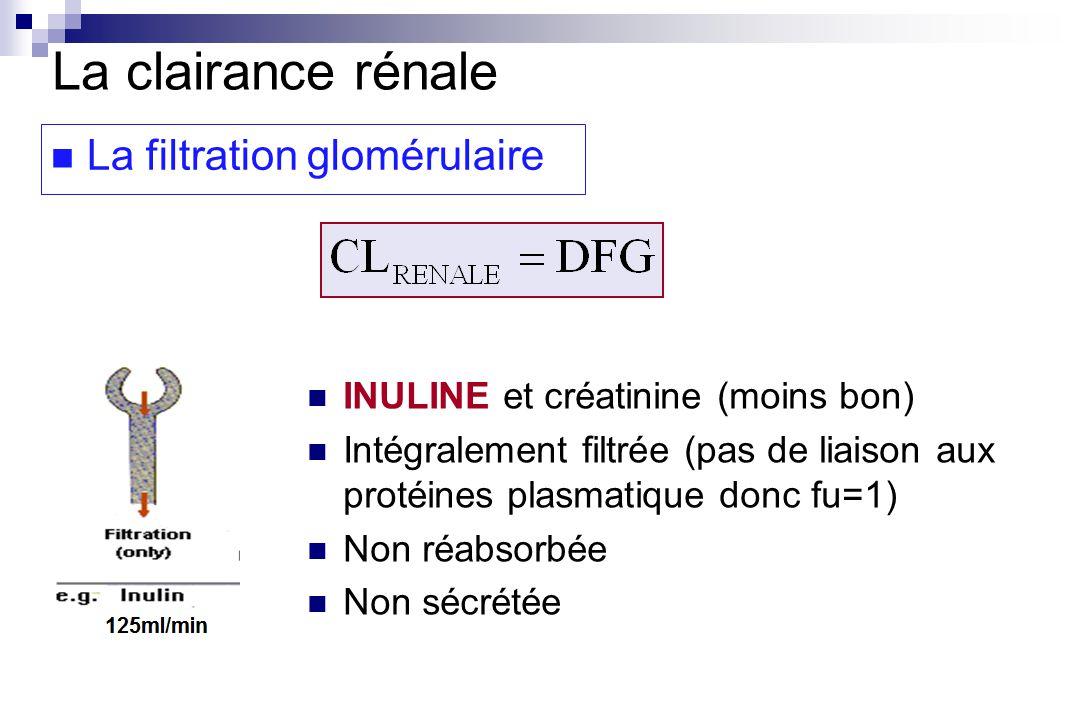 La clairance rénale La filtration glomérulaire