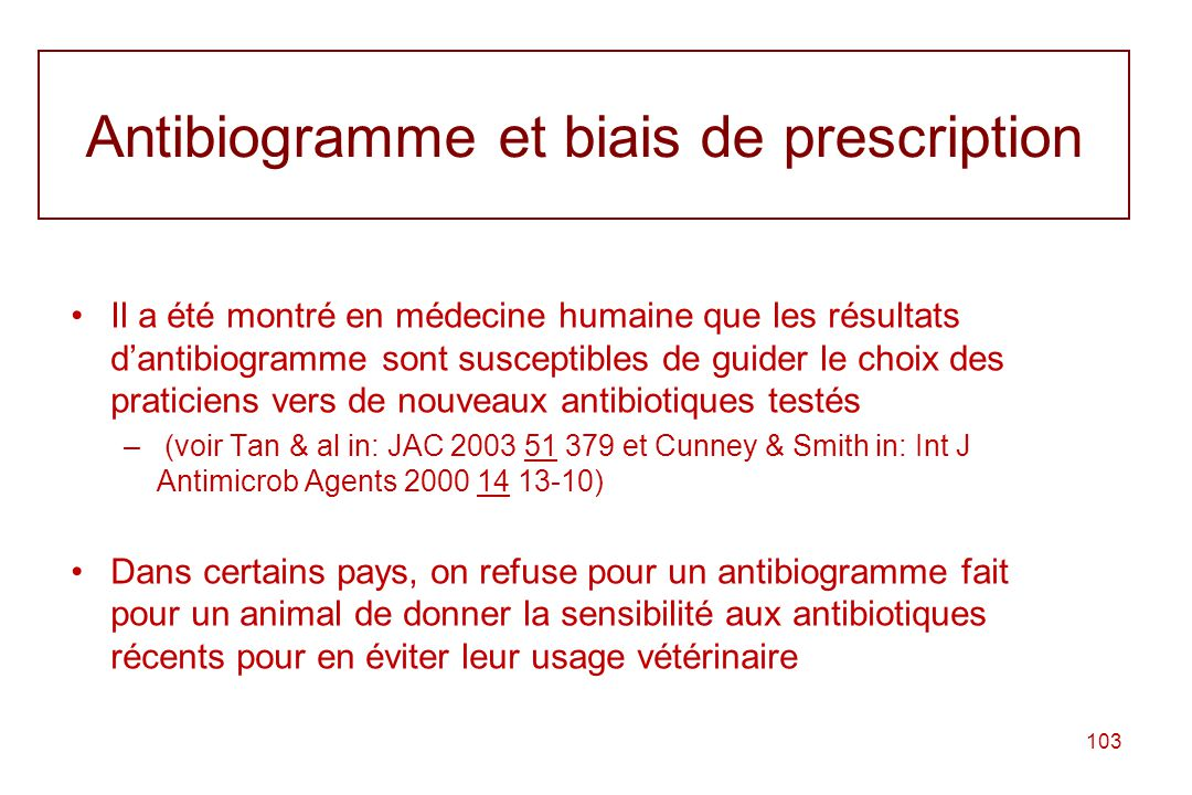 Antibiogramme et biais de prescription