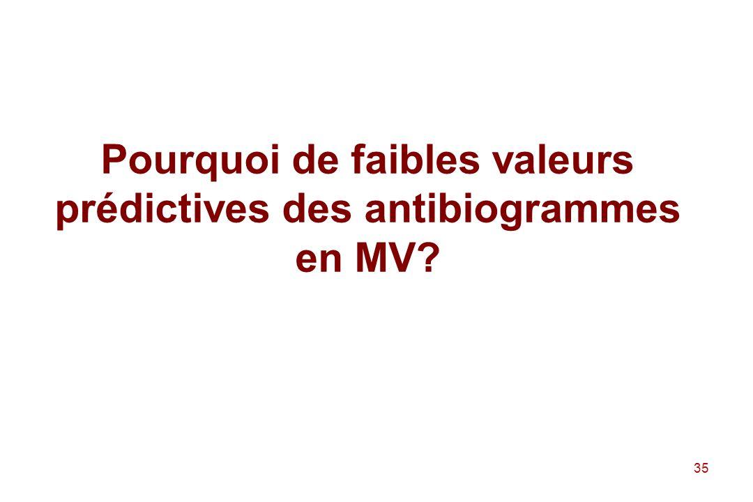 Pourquoi de faibles valeurs prédictives des antibiogrammes en MV
