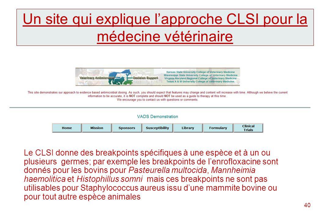 Un site qui explique l'approche CLSI pour la médecine vétérinaire