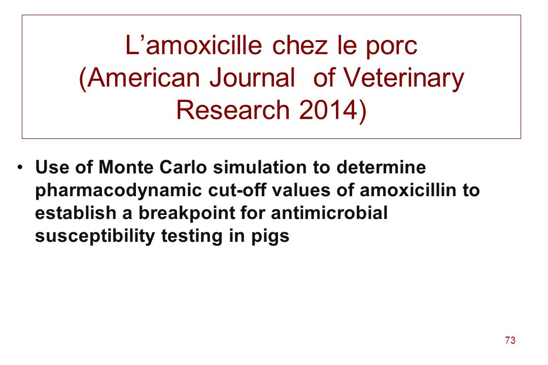 L'amoxicille chez le porc (American Journal of Veterinary Research 2014)