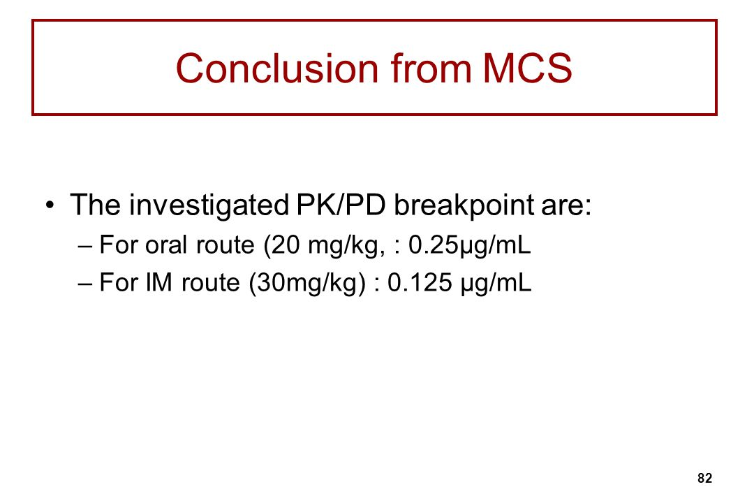 Conclusion from MCS The investigated PK/PD breakpoint are: