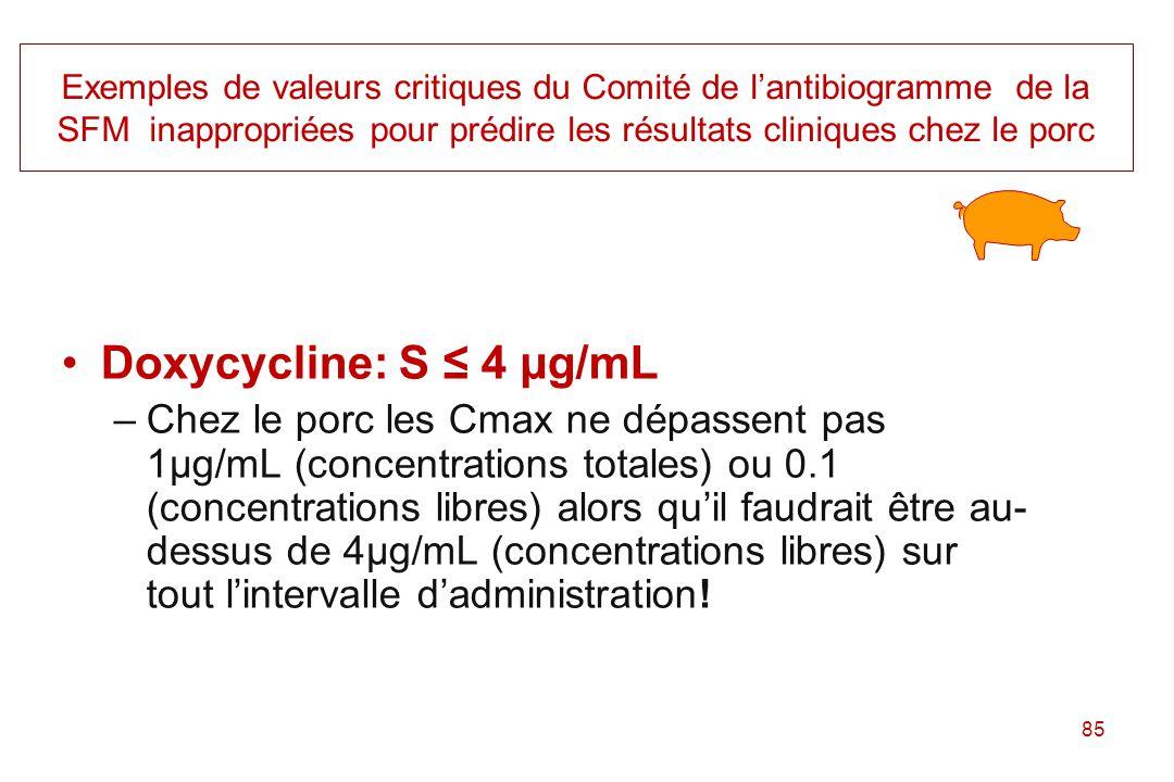 Exemples de valeurs critiques du Comité de l'antibiogramme de la SFM inappropriées pour prédire les résultats cliniques chez le porc