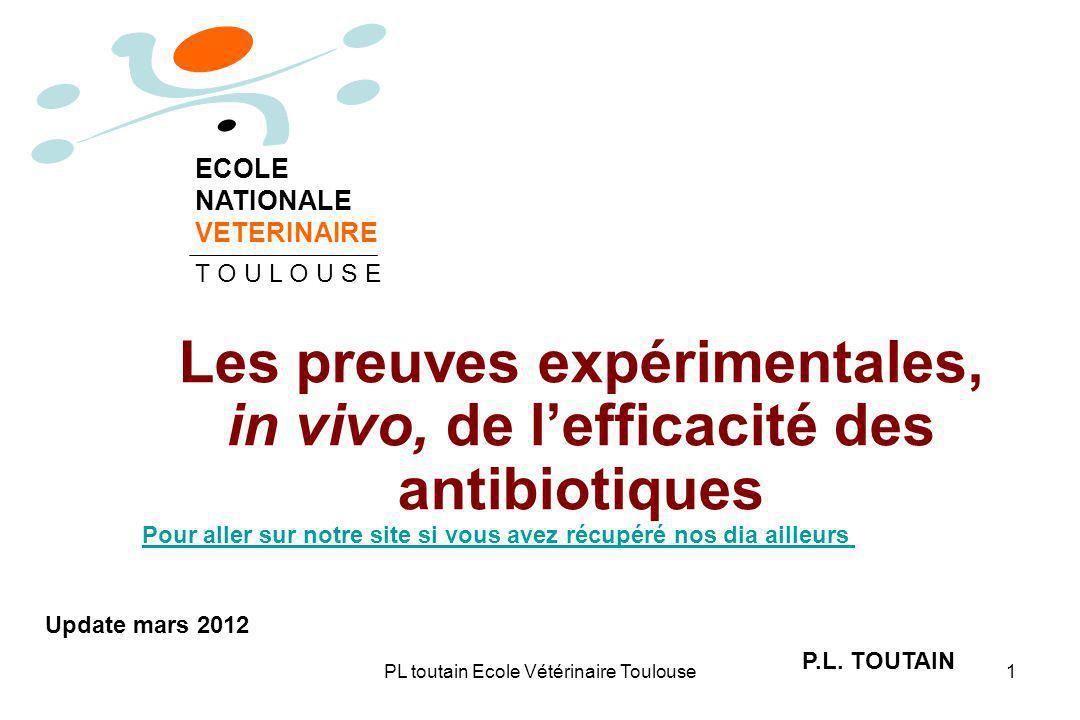 Les preuves expérimentales, in vivo, de l'efficacité des antibiotiques