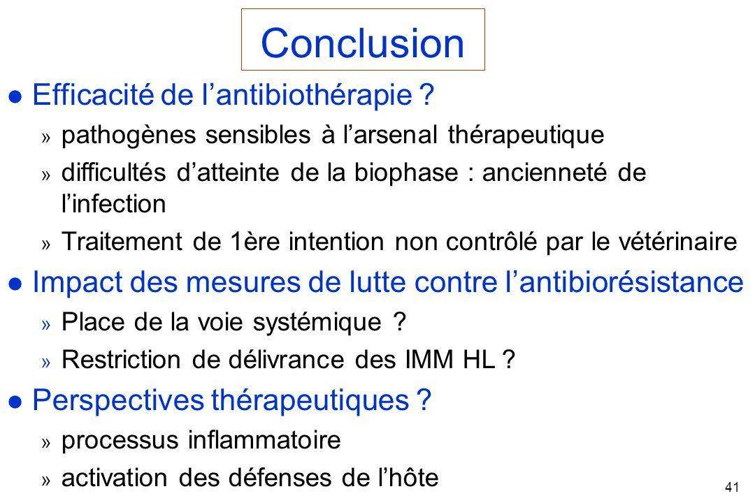 Conclusion Efficacité de l'antibiothérapie