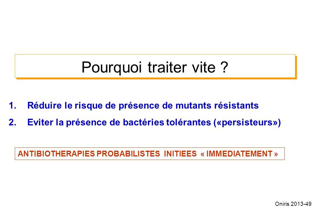 Pourquoi traiter vite Réduire le risque de présence de mutants résistants. Eviter la présence de bactéries tolérantes («persisteurs»)