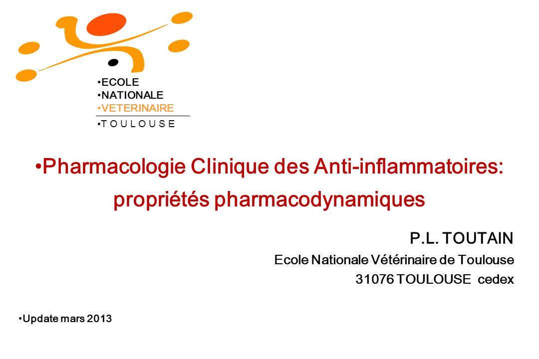 ECOLE NATIONALE. VETERINAIRE. T O U L O U S E. Pharmacologie Clinique des Anti-inflammatoires: propriétés pharmacodynamiques.