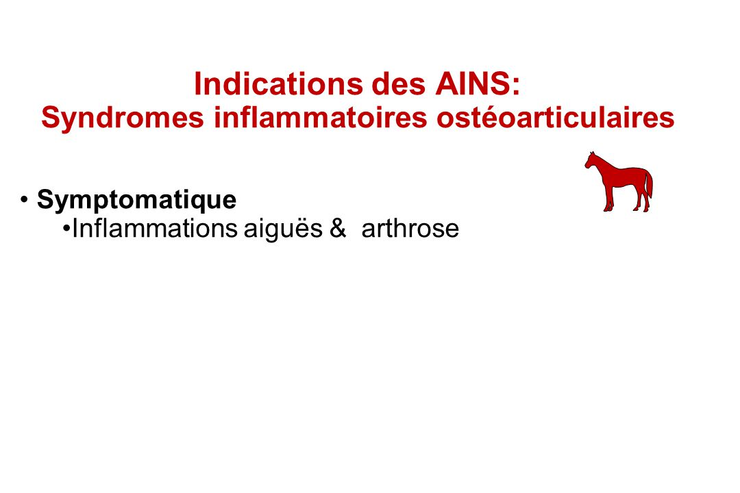 Indications des AINS: Syndromes inflammatoires ostéoarticulaires