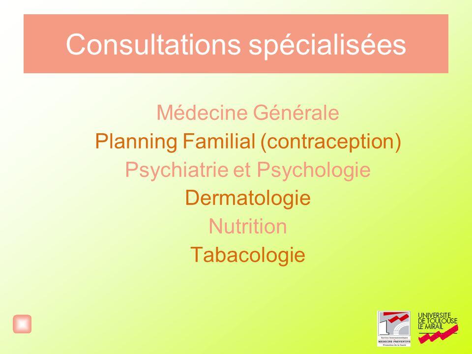 Consultations spécialisées