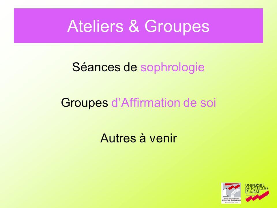 Ateliers & Groupes Séances de sophrologie Groupes d'Affirmation de soi
