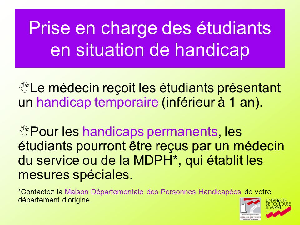 Prise en charge des étudiants en situation de handicap