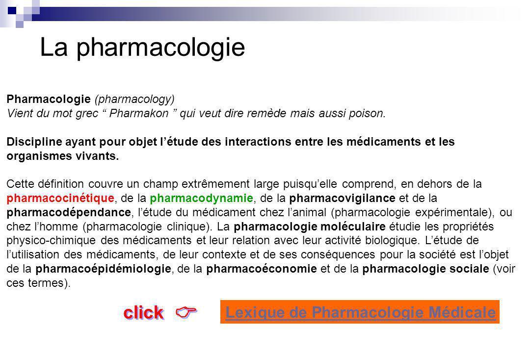 La pharmacologie  click Lexique de Pharmacologie Médicale