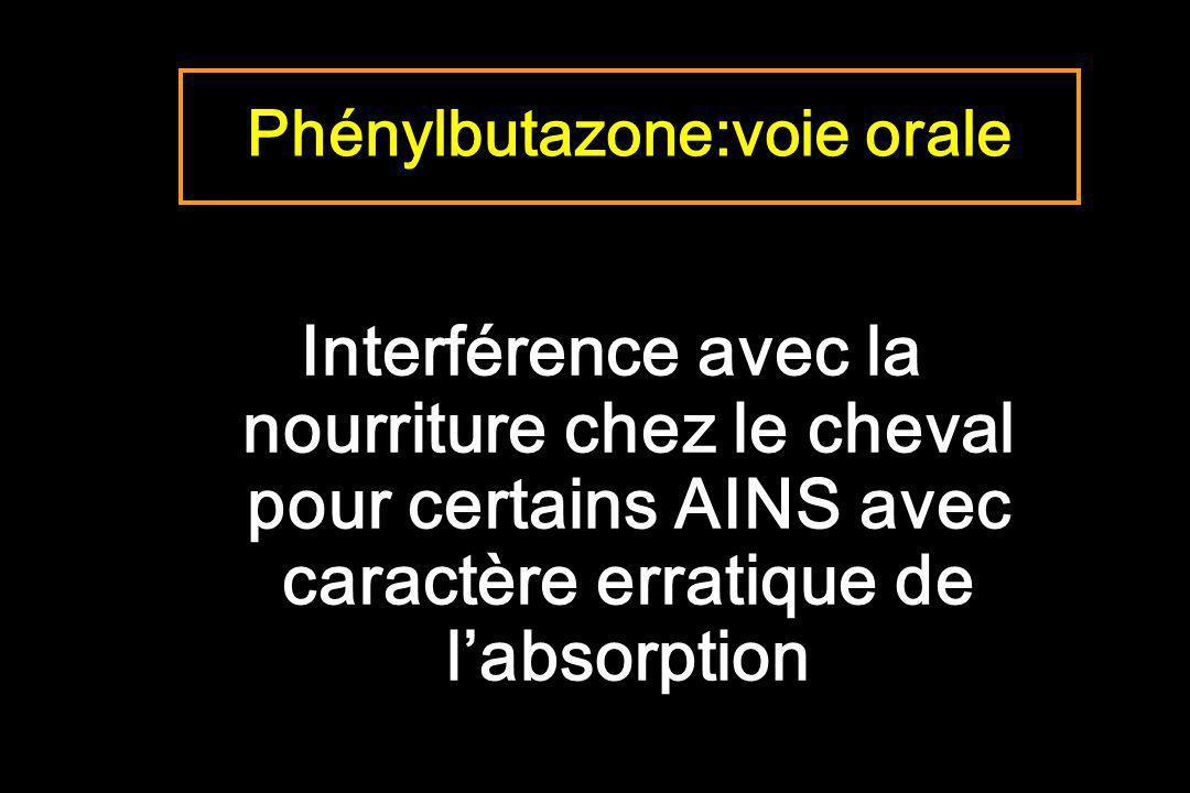 Phénylbutazone:voie orale