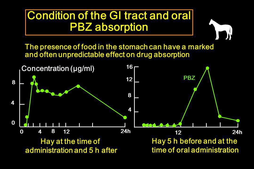 Condition of the GI tract and oral PBZ absorption