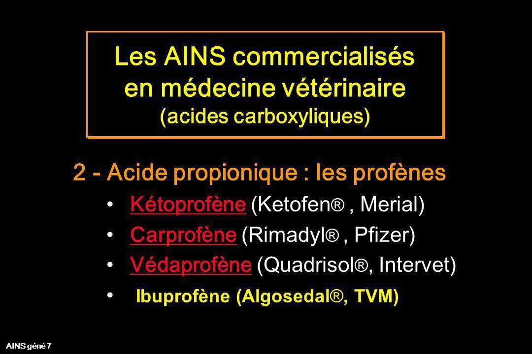 Les AINS commercialisés en médecine vétérinaire (acides carboxyliques)