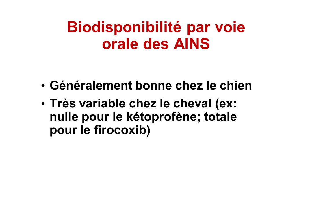 Biodisponibilité par voie orale des AINS