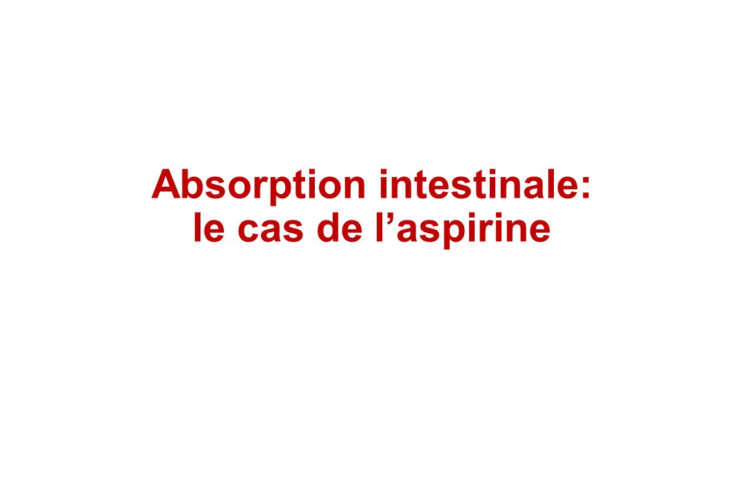 Absorption intestinale: le cas de l'aspirine