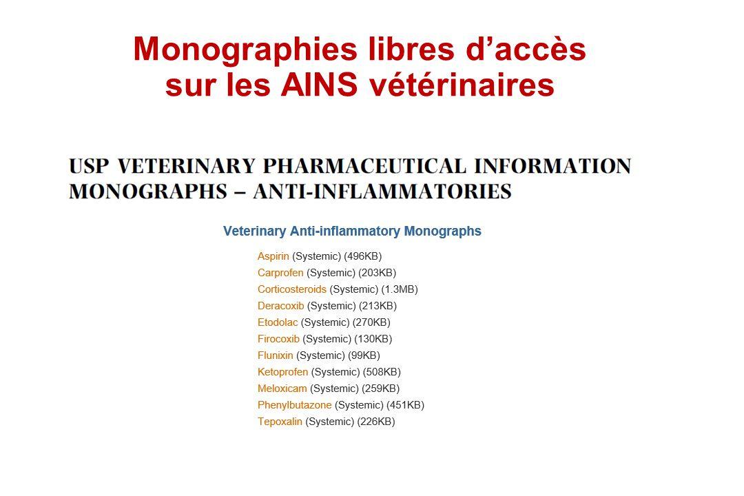Monographies libres d'accès sur les AINS vétérinaires
