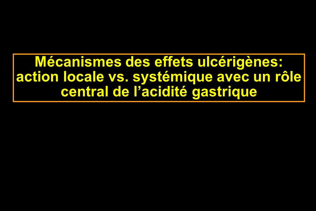 Mécanismes des effets ulcérigènes: action locale vs