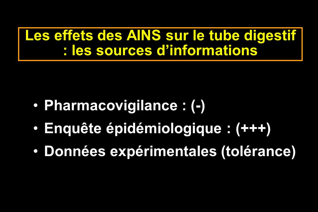 Les effets des AINS sur le tube digestif : les sources d'informations