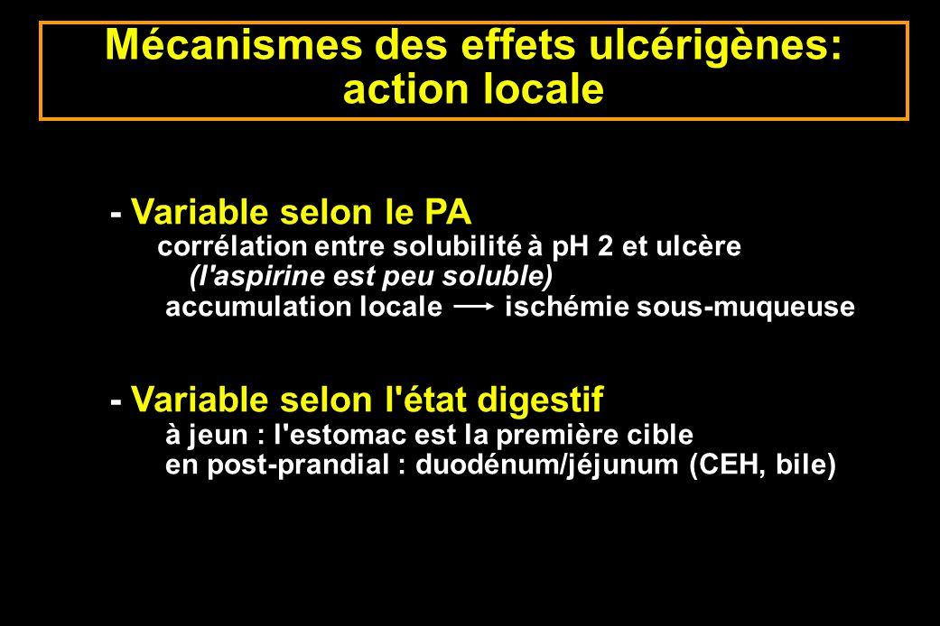Mécanismes des effets ulcérigènes: action locale