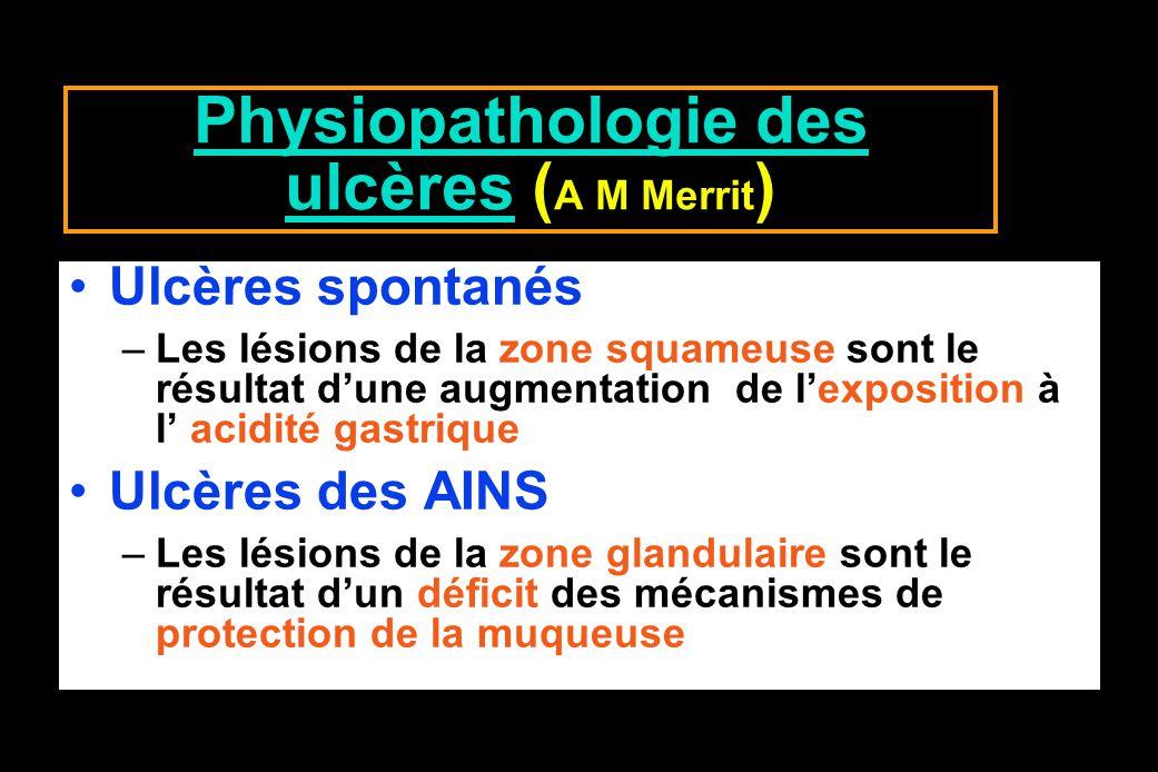 Physiopathologie des ulcères (A M Merrit)