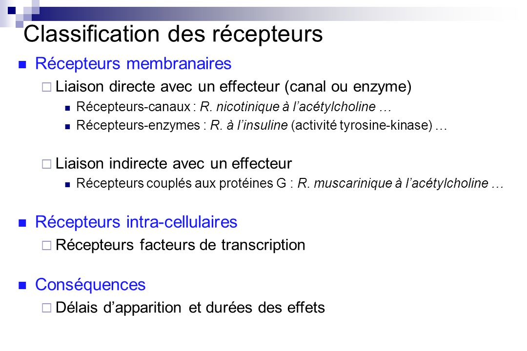 Classification des récepteurs