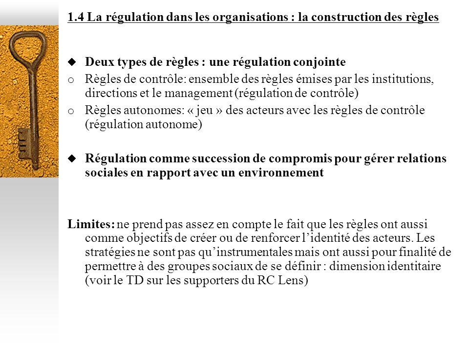 1.4 La régulation dans les organisations : la construction des règles