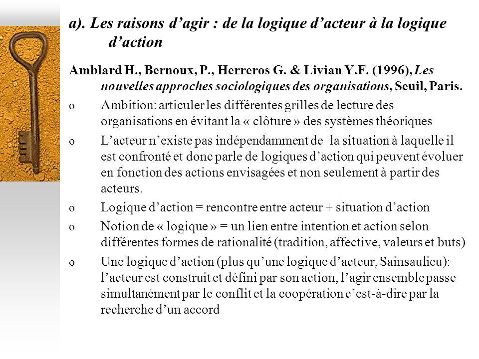a). Les raisons d'agir : de la logique d'acteur à la logique d'action