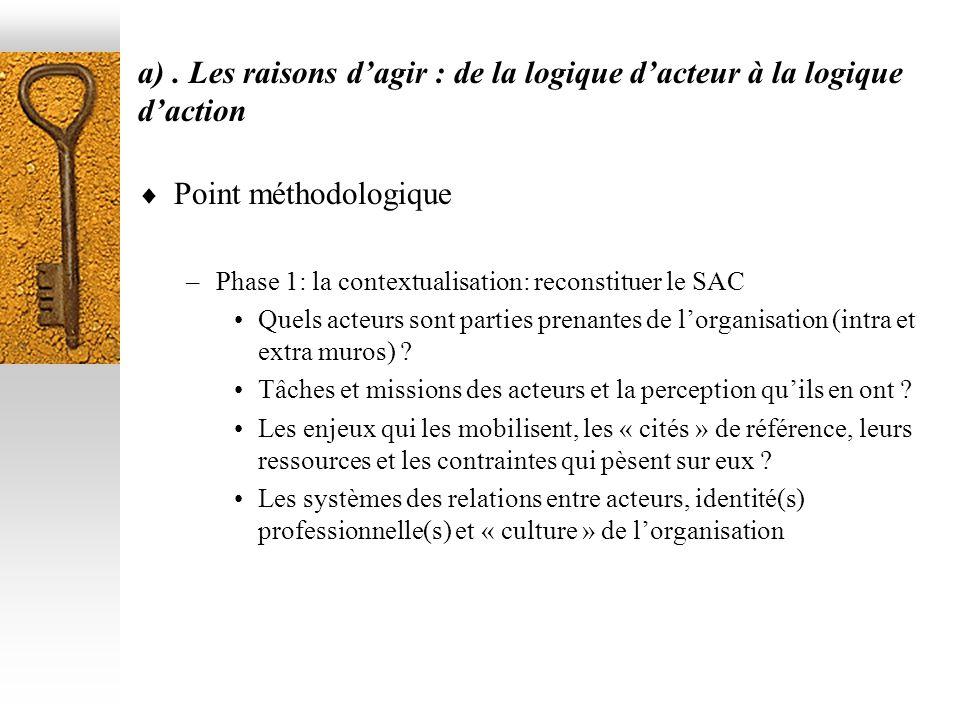 a) . Les raisons d'agir : de la logique d'acteur à la logique d'action