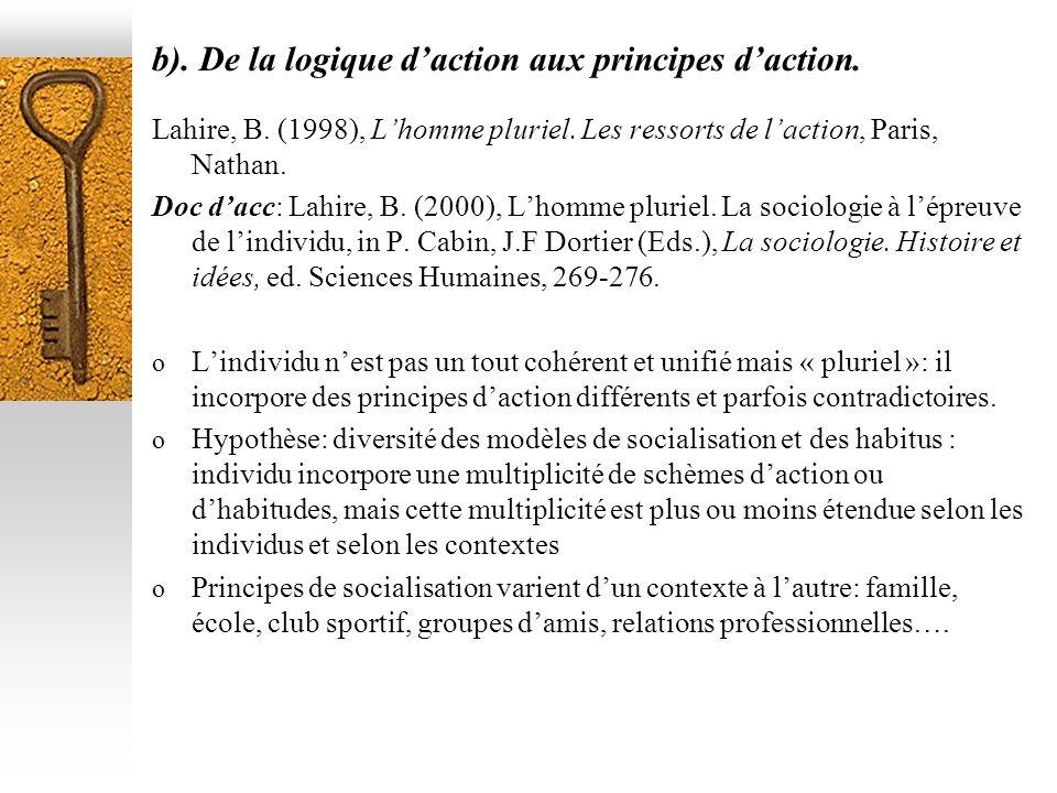 b). De la logique d'action aux principes d'action.