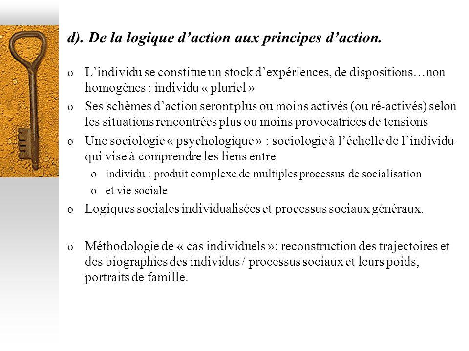 d). De la logique d'action aux principes d'action.