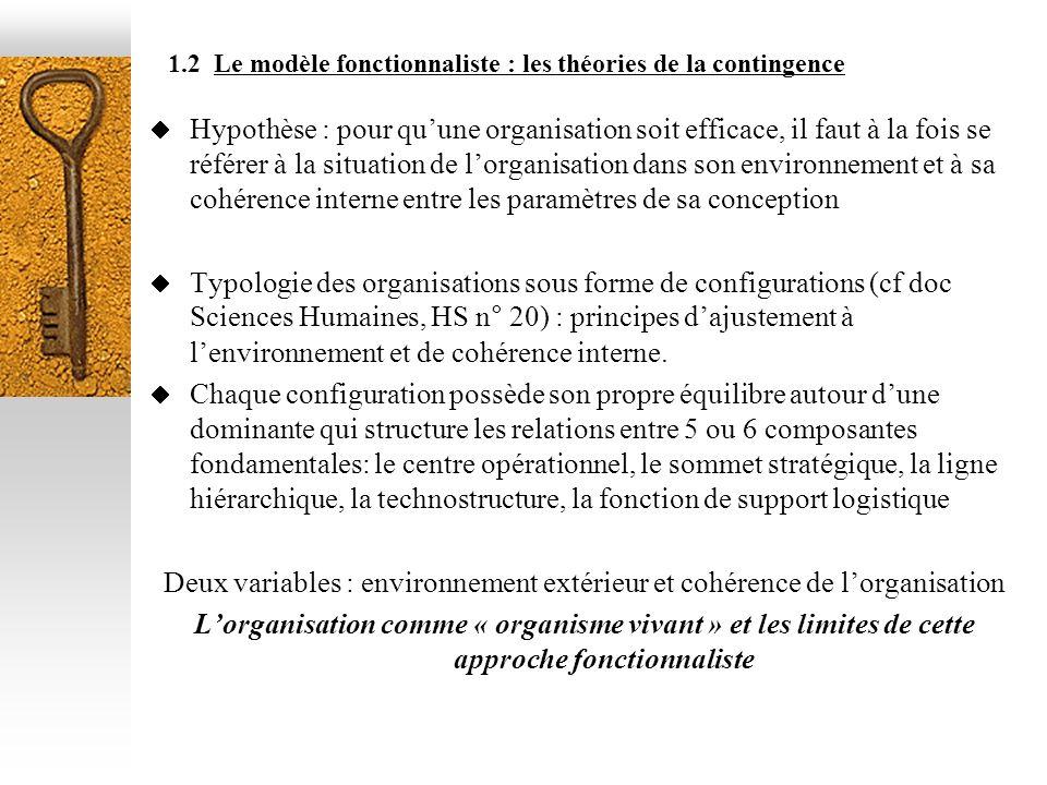 1.2 Le modèle fonctionnaliste : les théories de la contingence