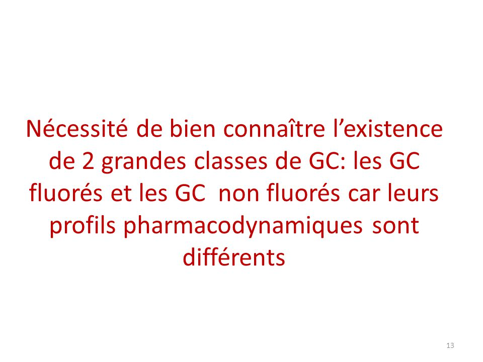 Nécessité de bien connaître l'existence de 2 grandes classes de GC: les GC fluorés et les GC non fluorés car leurs profils pharmacodynamiques sont différents