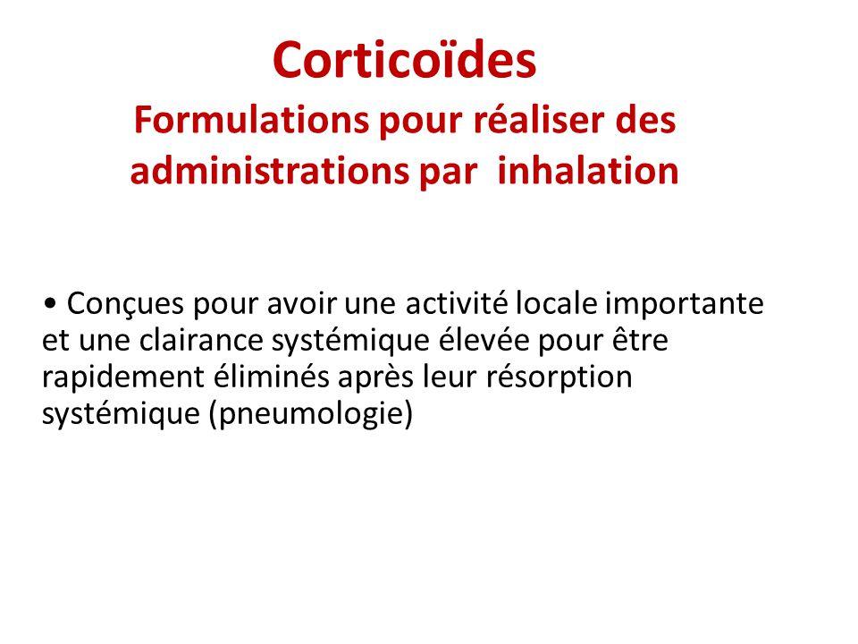 Corticoïdes Formulations pour réaliser des administrations par inhalation