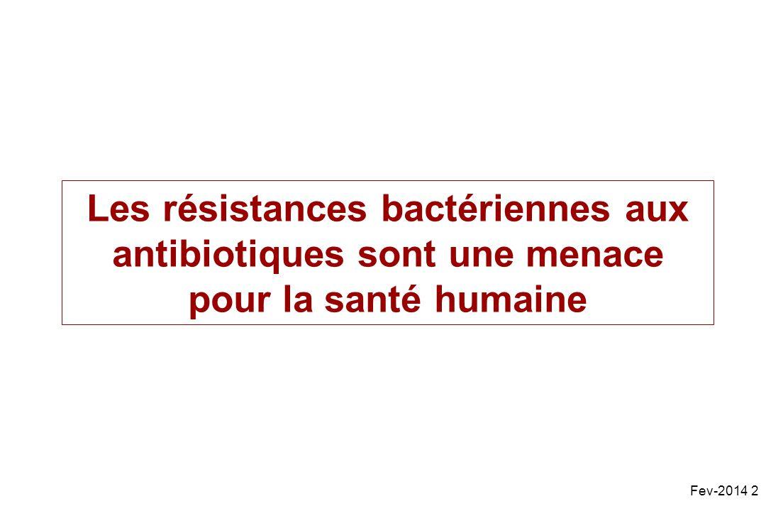 Les résistances bactériennes aux antibiotiques sont une menace pour la santé humaine