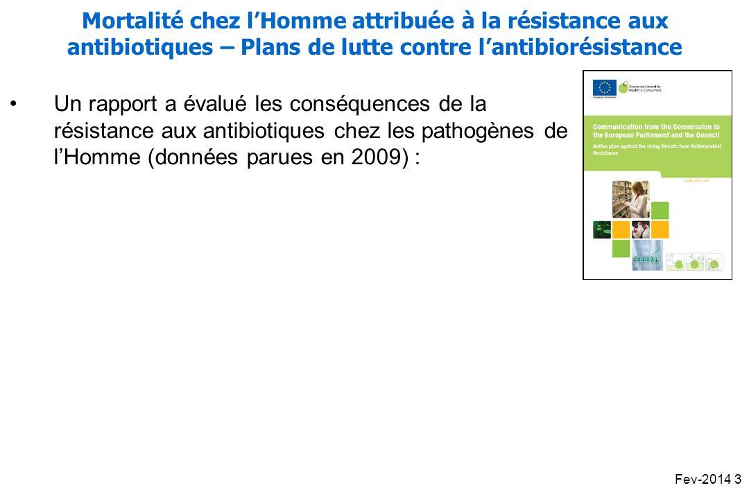 Mortalité chez l'Homme attribuée à la résistance aux antibiotiques – Plans de lutte contre l'antibiorésistance