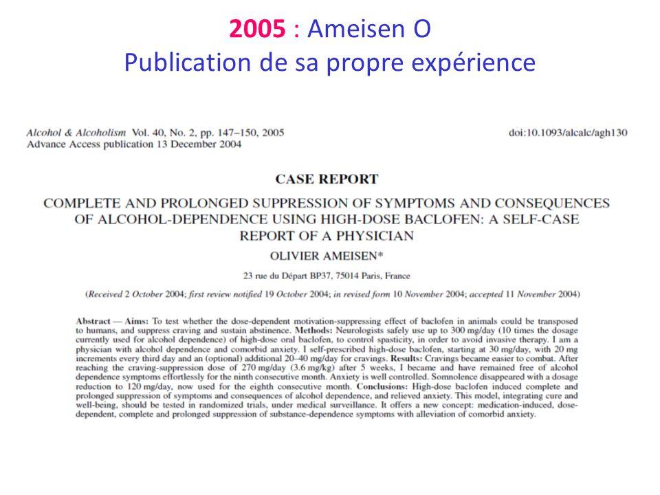 2005 : Ameisen O Publication de sa propre expérience