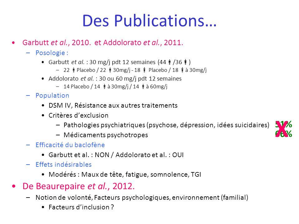 X Des Publications… De Beaurepaire et al., 2012. 51% 66%