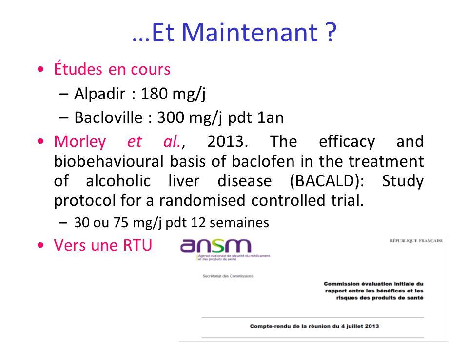 …Et Maintenant Études en cours Alpadir : 180 mg/j
