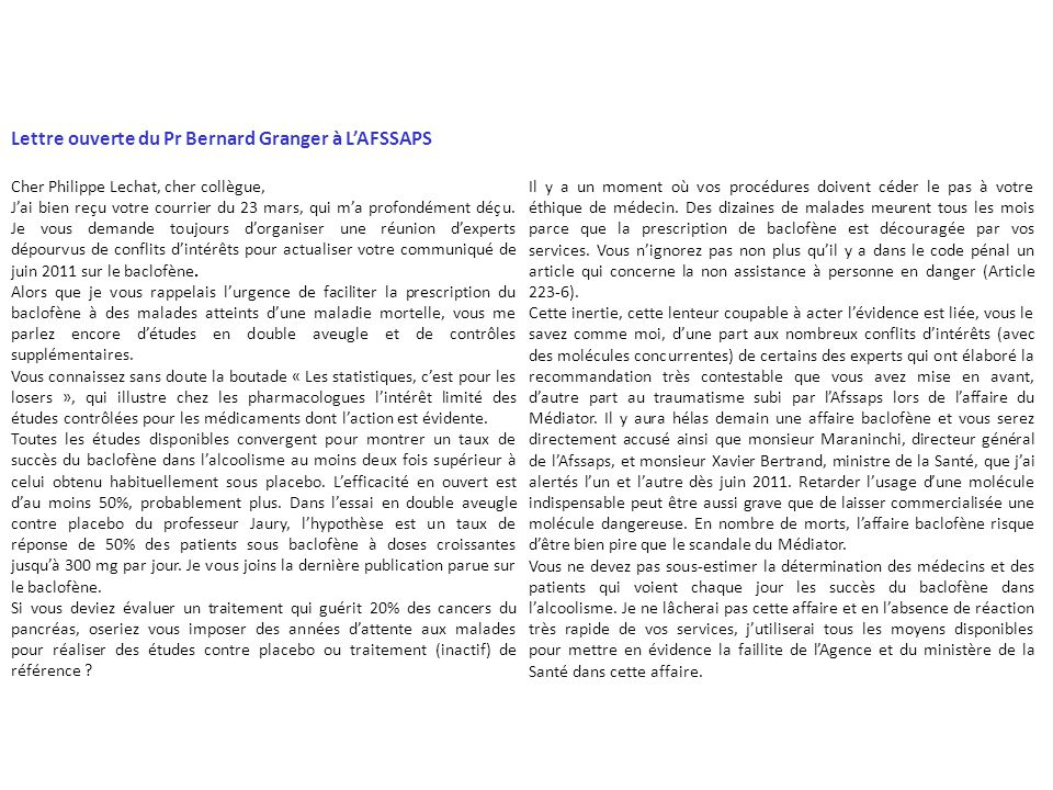 Lettre ouverte du Pr Bernard Granger à L'AFSSAPS