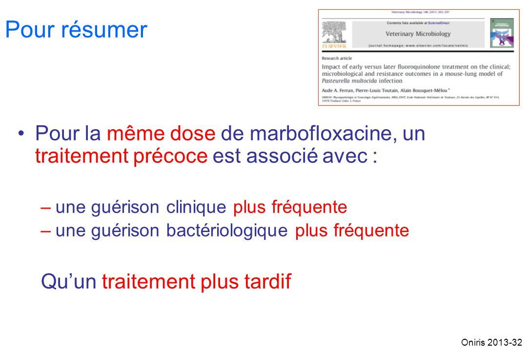 Pour résumer Pour la même dose de marbofloxacine, un traitement précoce est associé avec : une guérison clinique plus fréquente.