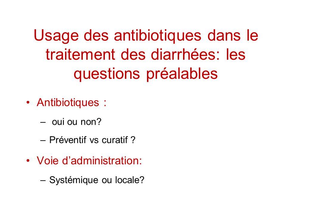 Usage des antibiotiques dans le traitement des diarrhées: les questions préalables