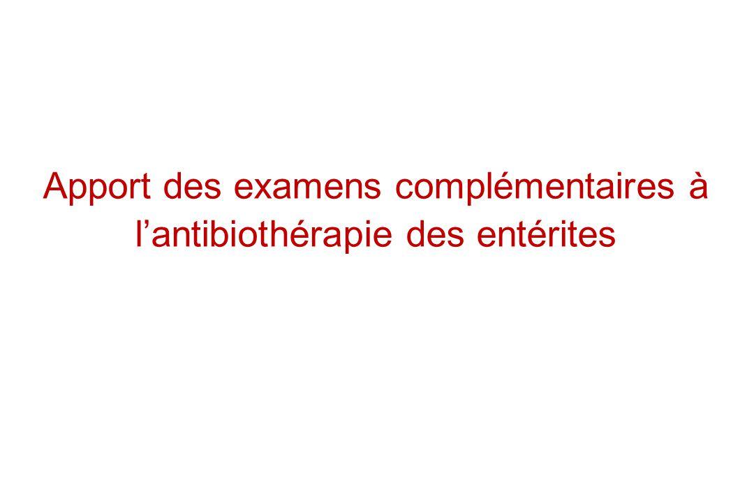 Apport des examens complémentaires à l'antibiothérapie des entérites
