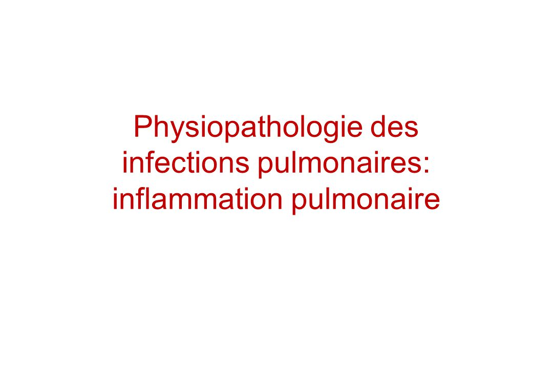 Physiopathologie des infections pulmonaires: inflammation pulmonaire