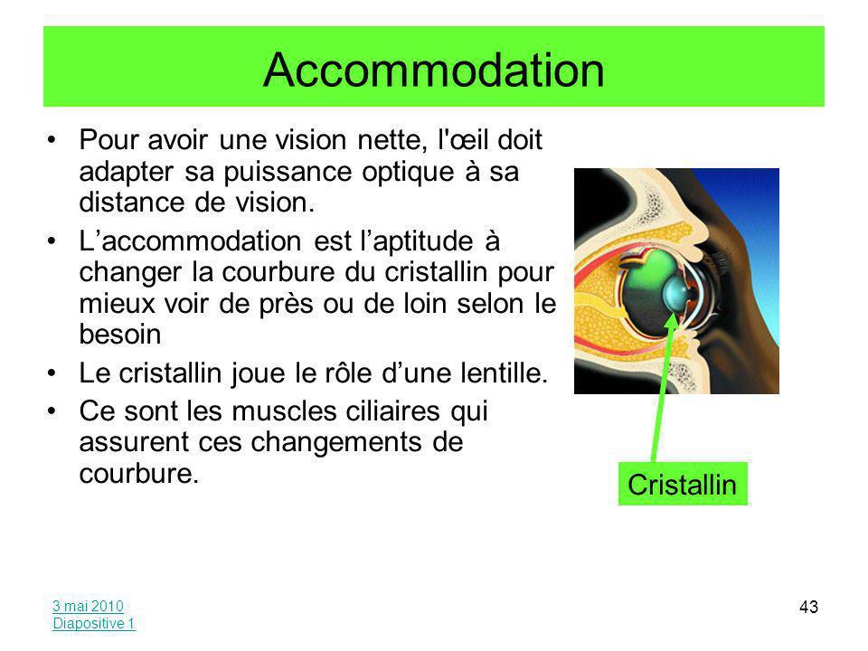 Accommodation Pour avoir une vision nette, l œil doit adapter sa puissance optique à sa distance de vision.