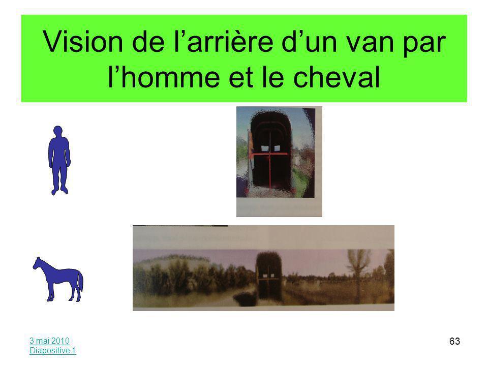 Vision de l'arrière d'un van par l'homme et le cheval