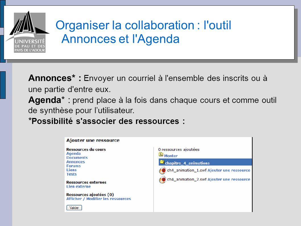 Organiser la collaboration : l outil Annonces et l Agenda