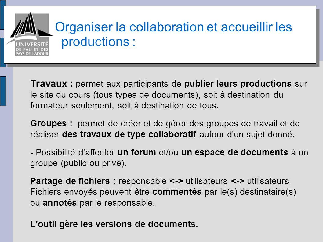 Organiser la collaboration et accueillir les productions :